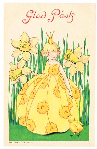 Girl in yellow dress with daffodils by Helfrid Selldin - Glad Pask