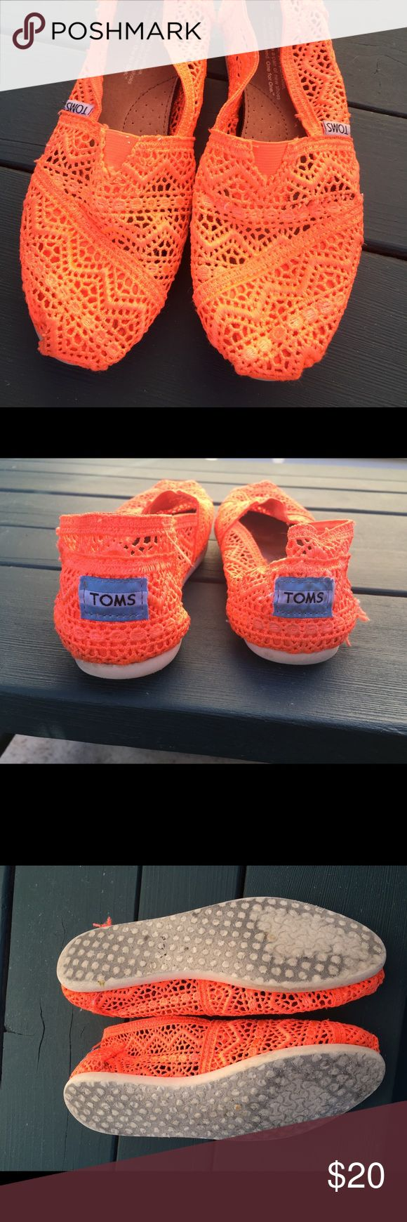 Orange lace Toms Lightly worn orange lace Toms. Size 6 Toms Shoes Flats & Loafers