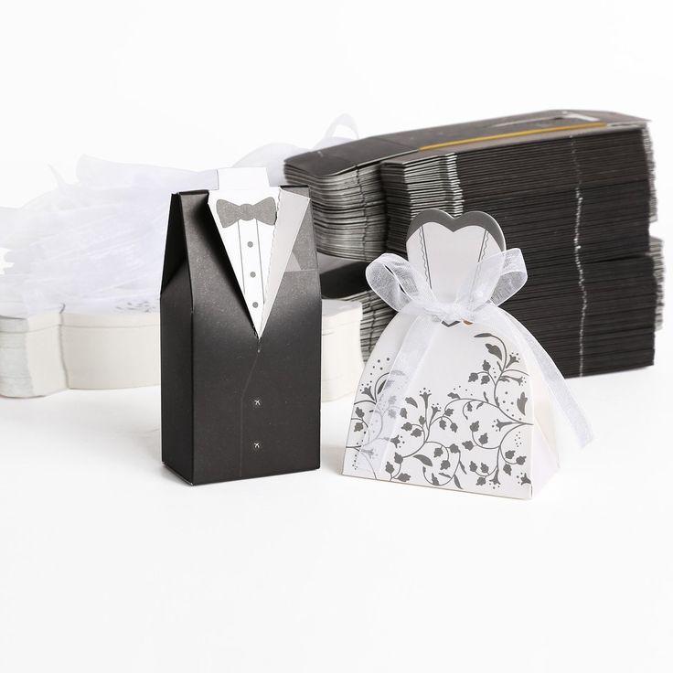 100pz. Sposo + 100pz. Sposa Carta di Bomboniera Per Confetti Caramelle Matrimonio Nero Bianco + Nastro: Amazon.it: Casa e cucina
