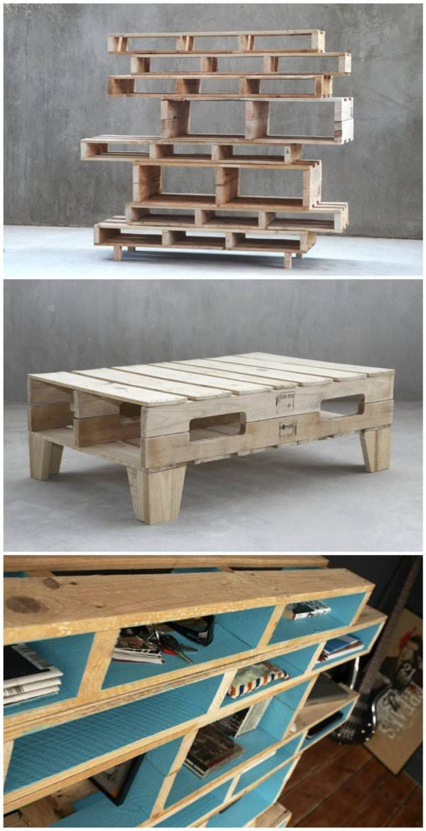 coffee table, recycled pallet, shelf, upcycled furniture    Really love the design of these pallet creations.