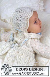 The set comprises: Christening gown, bonnet and jump suit. ~ DROPS Design
