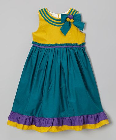 Take a look at this Jade & Yellow Ruffle Bow Dress - Girls by Donita on #zulily today!