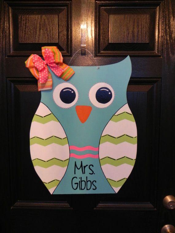 Classroom Decoration Ideas For Door ~ Images about wooden door hangers owls on pinterest