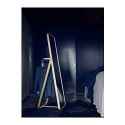 IKEA - IKORNNES, Floor mirror, , Tired in the mornings? You can save time by hanging tomorrow's outfit behind the mirror.To avoid clothes piles and extra loads of laundry, you can hang used clothes behind the mirror.Suitable for use in most rooms, and tested and approved for bathroom use.Safety film  reduces damage if glass is broken.