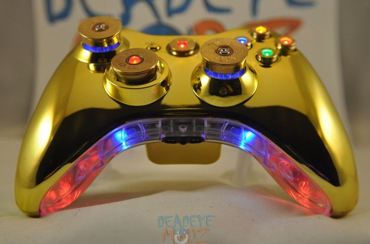 I wish I had this much $$ for my hubby =[ / Xbox 360 Custom Controller Full Set of LED Bullet Buttons with LED Trim. $279.99, via Etsy.