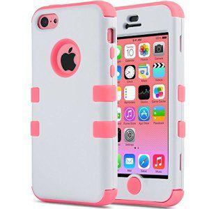 Coque iPhone 5c,ULAK Housse dur de Protection en Multi-couleurs Lourde en Matériaux Hybrides Coque pour Apple iPhone 5c(Blanc+Rose)