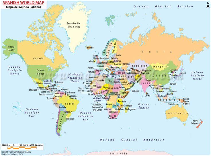 World Map in Spanish Los pa ses hispanohablantes Pinterest Spanish Wor