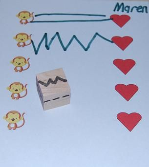 Great pre-writing activity. Roll the DIY die and draw the pattern from left to right to connect stickers.- repinned by @PediaStaff – Please Visit  ht.ly/63sNt for all our pediatric therapy pins