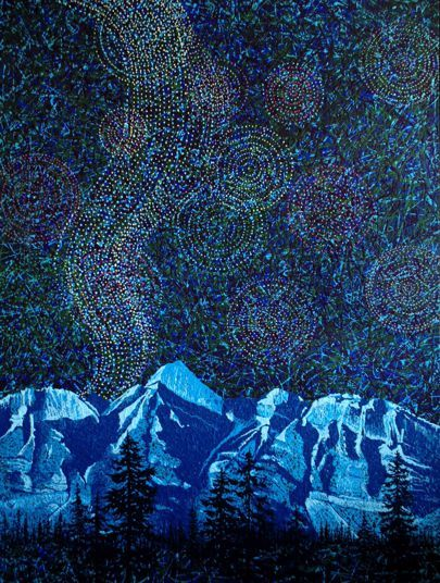 """Nightfall in the Rockies IV"" by Artist Rhonda Lund 36 x 48"" Acrylic on Canvas; Staple back 'haunting yet mysterious skies of a Rocky Mountain night"