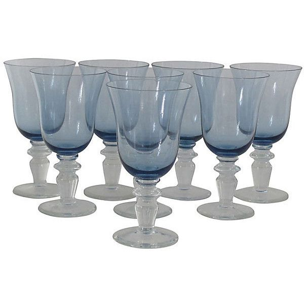 Pre-Owned Blue Glasses S/8 ($199) ❤ liked on Polyvore featuring home, kitchen & dining, drinkware, blue wine glasses, blue glass wine glasses, wine glasses, wine glass and glass drinkware