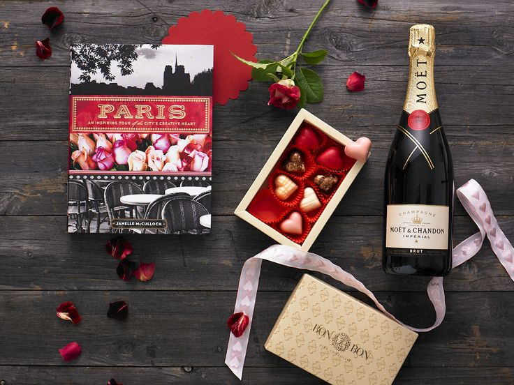 Truly, Madly, Deeply $190.00  Paris: A Guide to the City's Creative Heart by Janelle McCulloch hardcover book, Moet & Chandon Brut Imperial 750ml, Bon Bon Fine Chocolate hearts 120g (made in Australia)