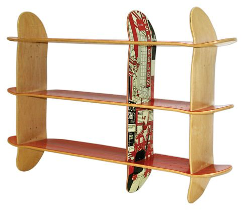 repurposed skateboard bookshelves