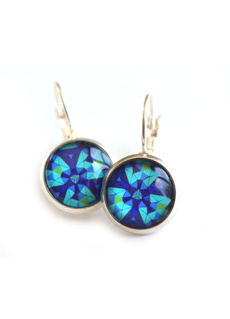 Blue Geometric Earrings www.cloudninecreative.co.nz