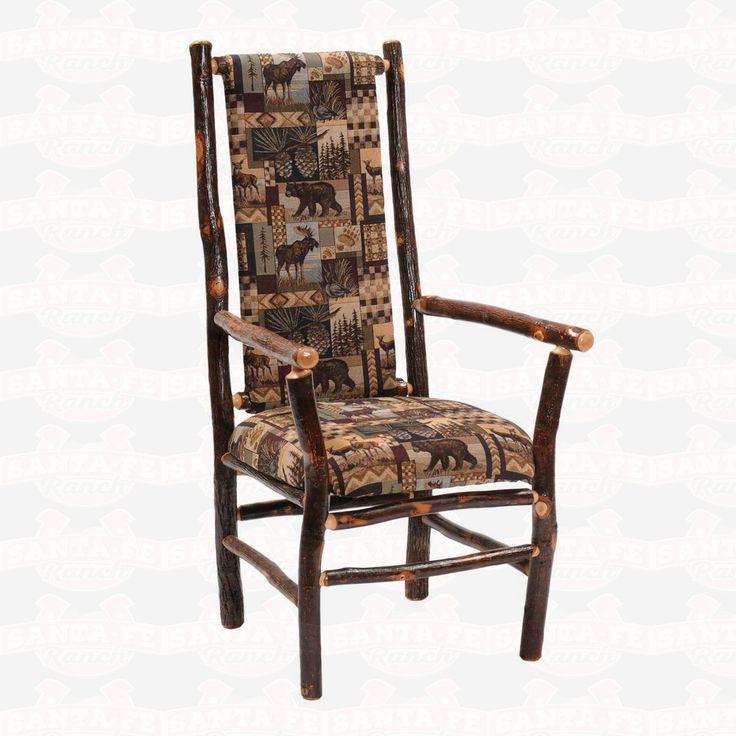 Fireside Lodge Furniture Hickory High Back Fabric Upholstered Seat & Back Arm #DiningChair #westernfurniture #rusticfurniture         http://www.santaferanch.com/