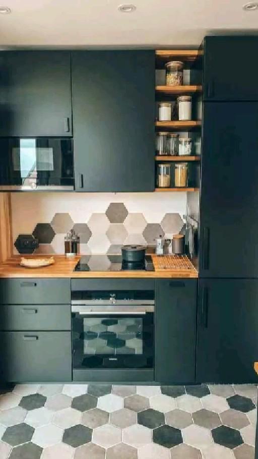 Black Ikea Kitchen, Mini Kitchen, Smart Kitchen, Open Kitchen, Kitchen Island, Küchen Design, Design Ideas, Interior Design, Home Kitchens