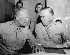 At Allied headquarters in North Africa in June 1943, Marshall (right) confers with General Dwight D. Eisenhower, Allied commander in the Mediterranean Theater.