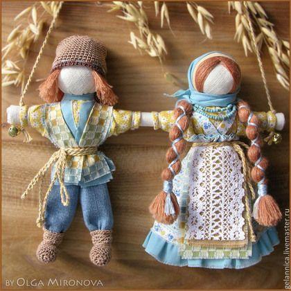 Народные куклы ручной работы. Ярмарка Мастеров - ручная работа. Купить Неразлучники. Handmade. Голубой, подарок на свадьбу, кукла неразлучники