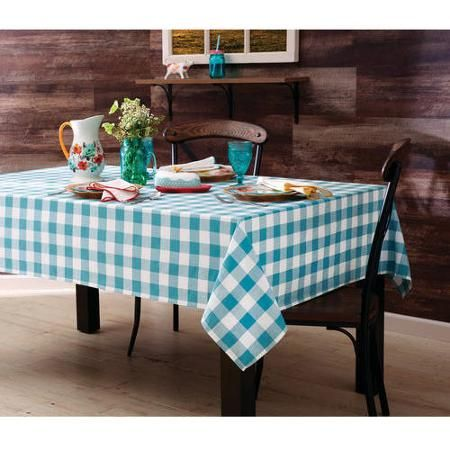 The Pioneer Woman Charming Check Tablecloth, Teal - Walmart.com