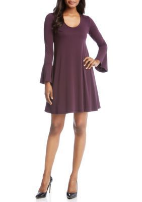Karen Kane Women's Flare Sleeve Taylor Dress - Eggplant - L