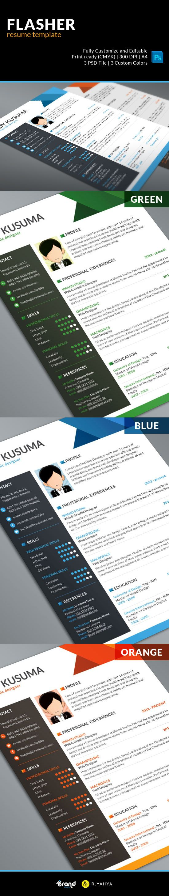 Free Resume PSD Template: Flasher (3 Colors) #resume #cv #psd
