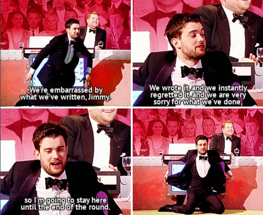 "When James Corden and Jack Whitehall were embarrassed by the answer they had originally intended to give. | 27 Times ""The Big Fat Quiz Of The Year"" Made You Literally LOL"