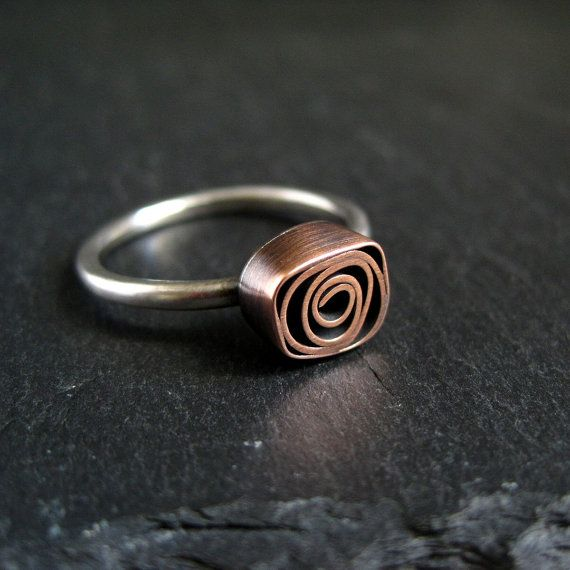 Copper Rose Ring, copper and silver ring, metalwork jewelry, antique copper and sterling silver ring