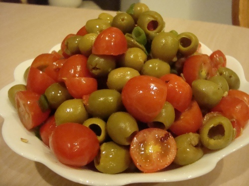 Warm Olive and Tomato Salad - you can put this together in no time. It is colorful and delicious!