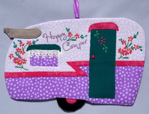 Happy Camper 38 Mug Rug By QuiltinCats On Etsy Lavender Pink Teal Glamping Vintage Trailer Shasta