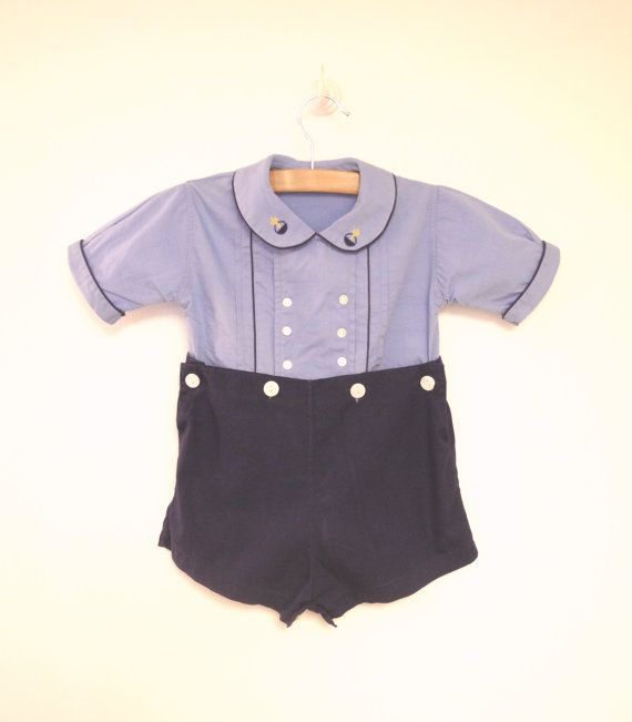Vintage Baby Clothes 1940's Sky Blue and Navy Blue by BabyTweeds