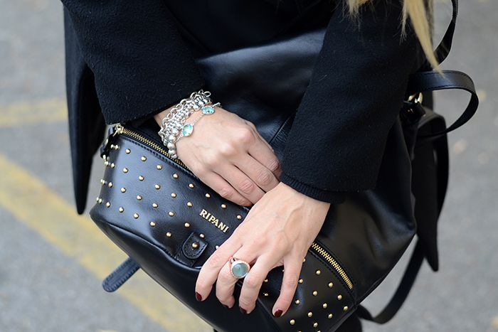 zaino linea radice ripani - Black studded backpack