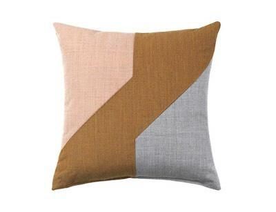 Louise Roe Architect square cushion -grey and blush