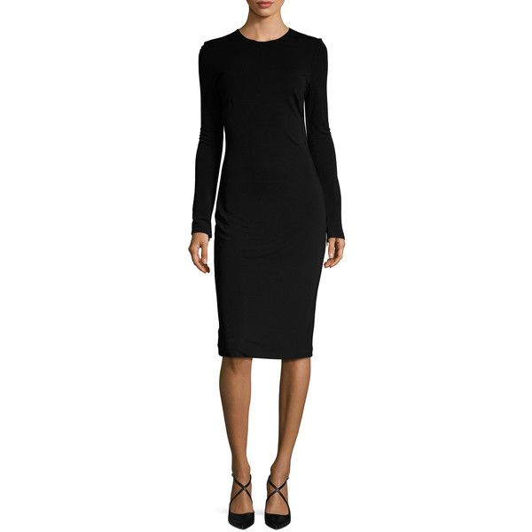 Badgley Mischka Couture Women's Solid Midi Sheath Dress - Black (1,125 CAD) ❤ liked on Polyvore featuring dresses, black, braid dress, evening dresses, midi cocktail dress, midi evening dresses and mid calf cocktail dresses
