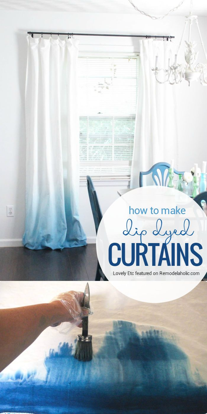 Update a pair of basic white curtains with this simple dye technique for an ombre dip dye curtain style... without the dipping and buckets of dye! Tutorial from Simply Etc on Remodelaholic.com