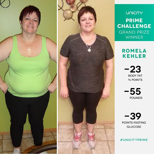 UNICITY PRIME CHALLENGE FALL 2015 : Romy Kehler   Romy Kehler has dealt with numerous health issues. From being diagnosed with Diabetes to discovering she had Multiple Sclerosis, Romy has had to struggle through these trials and more.  After going through the transformation program, Romy has lost 55 pounds and will never turn back. Her life now is filled with joy and she is able to help others as a massage therapist, without the pain she used to experience. Watch her story her