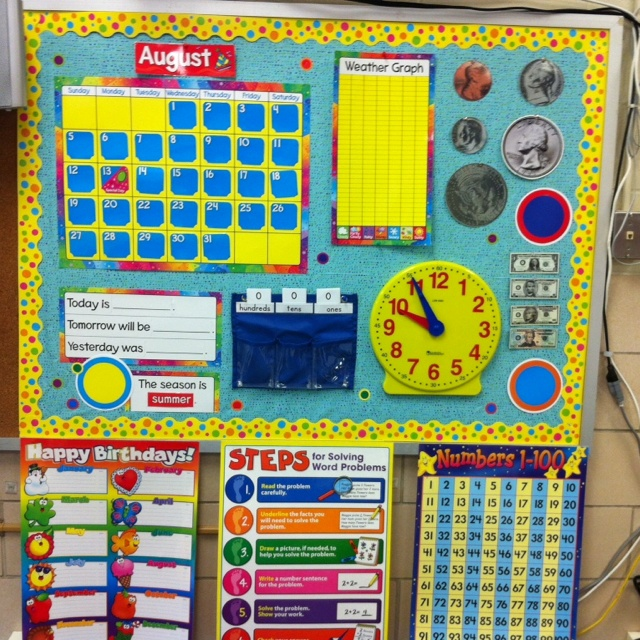 Polka Dot theme classroom... First grade calendar math.