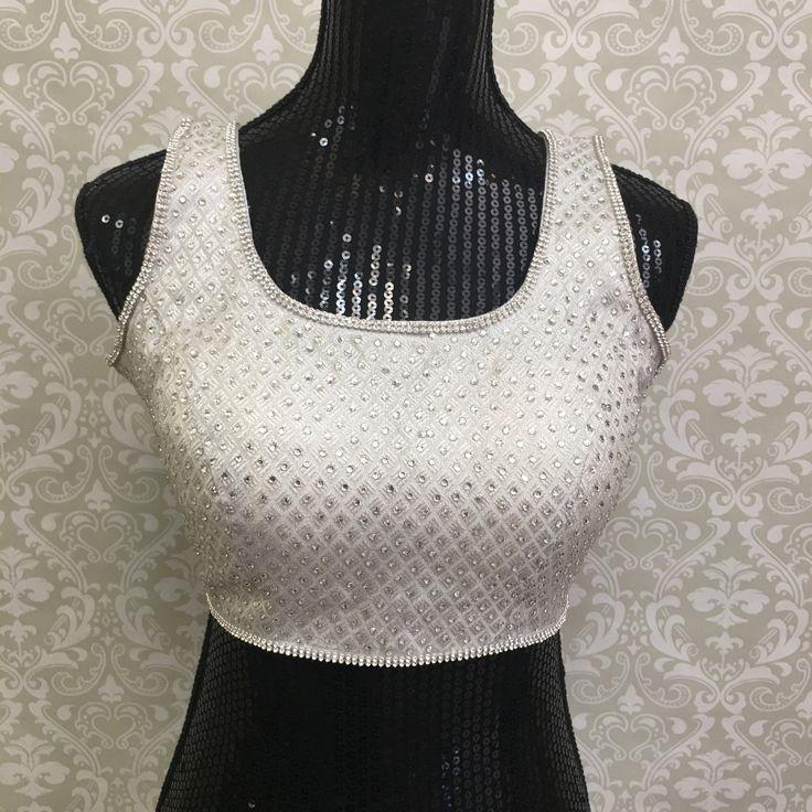 Party Wear Stone Work Blouse-White