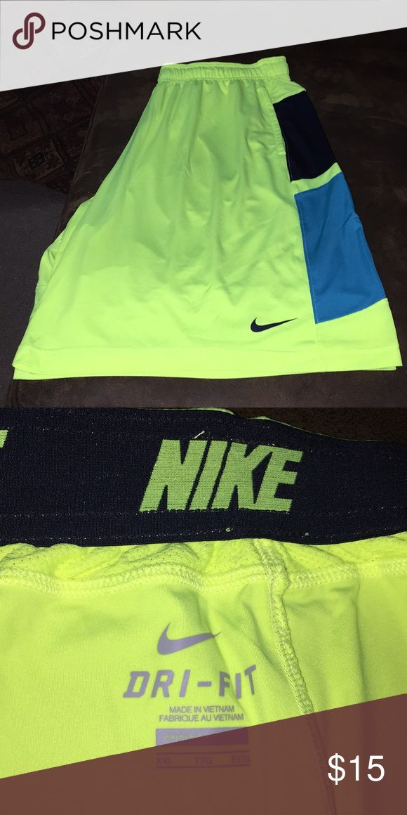 Nike Dri-fit Neon Yellow shorts Super soft neon shorts! Very good condition. Nike Shorts Athletic