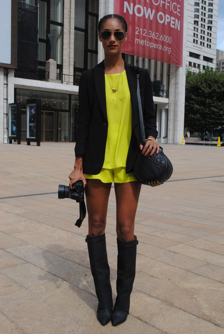 """""""Love this yellow short suit to topping off super long legs. Bold color against black still paving the way"""" - Nadia Sarwar, FrouFrouu.com"""