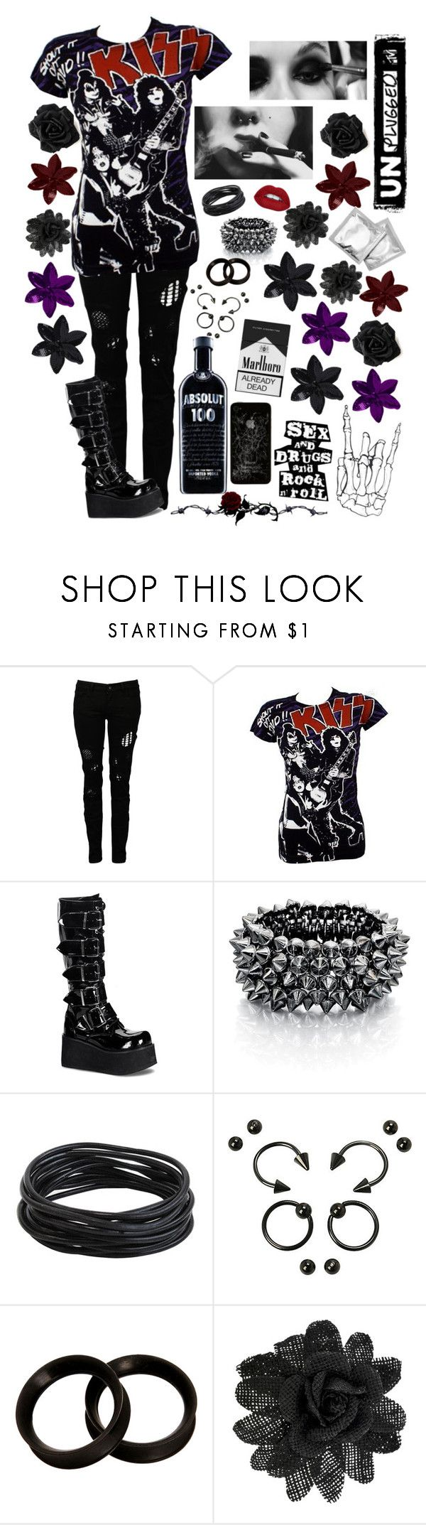 """""""Sex, Drugs, and Rock n Roll"""" by mrsmotionless ❤ liked on Polyvore featuring Religion Clothing, Fiorelli, Hot Topic, KAOS, Vans and ASOS"""