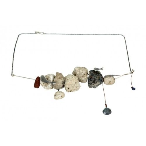 ''Flowing Thougths'' sterling silver handmade necklace with pumice stones, thread, sapphire and Labratorite beads