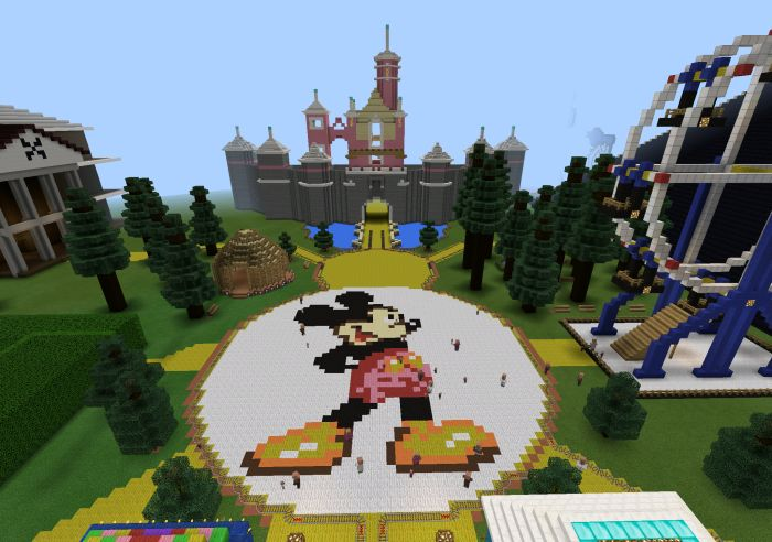 This map brings a wonderful experience of happiness and different Disney characters. Your task is exploring Disneyland now. What is the Storyline of This Map? Feel great to come to a haunted house, where the Mickey Mouse lives here. There are also other impressive features to enjoy on the map.... https://mcpebox.com/disneyland-creation-map-minecraft-pe/