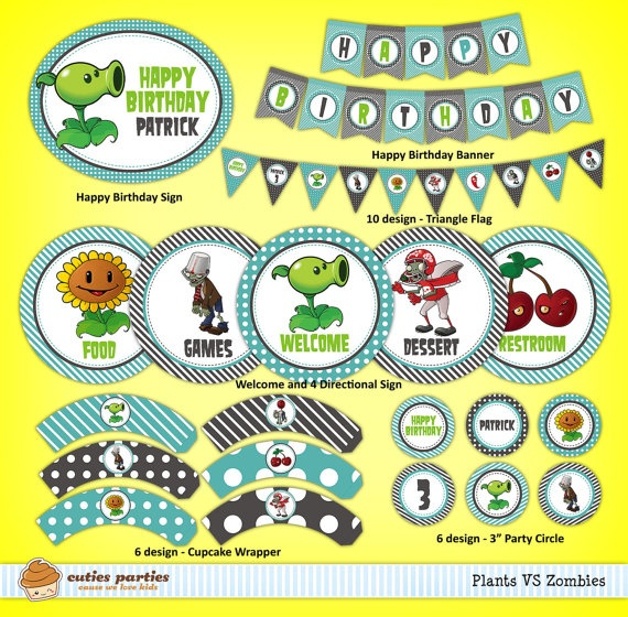 Plants VS Zombies Birthday Party Decoration by cutiesparties.com $15.00