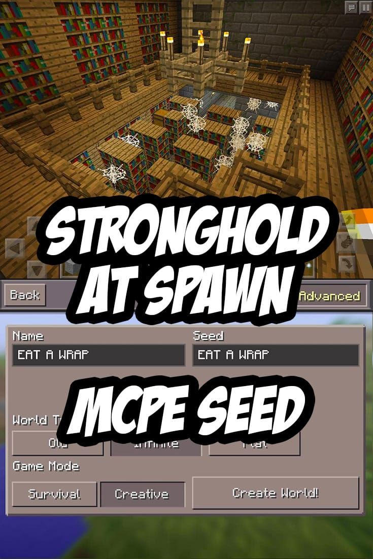 MCPE Stronghold at Spawn Seed: EAT A WRAP