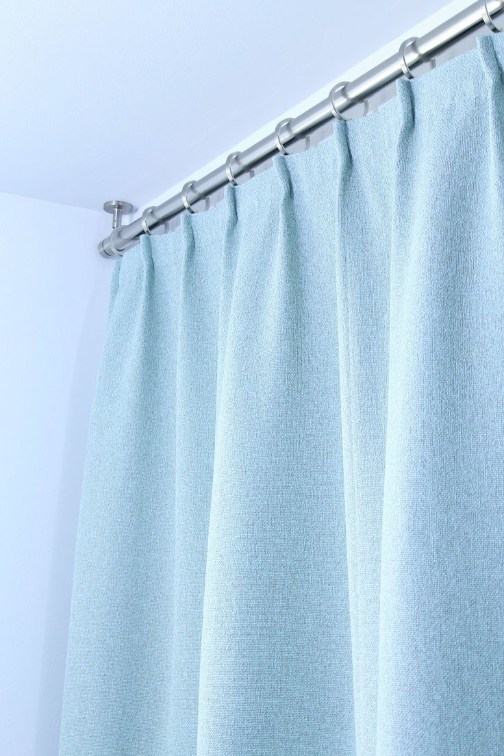 Blue bathroom curtains - Bathroom Update Ceiling Mounted Shower Curtain Rod Turquoise Tweed Pleated Shower Curtain
