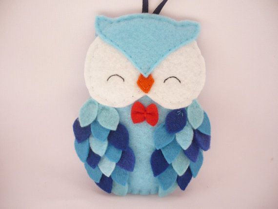 Felt owl ornament  felt Christmas ornament  Christmas by ynelcas