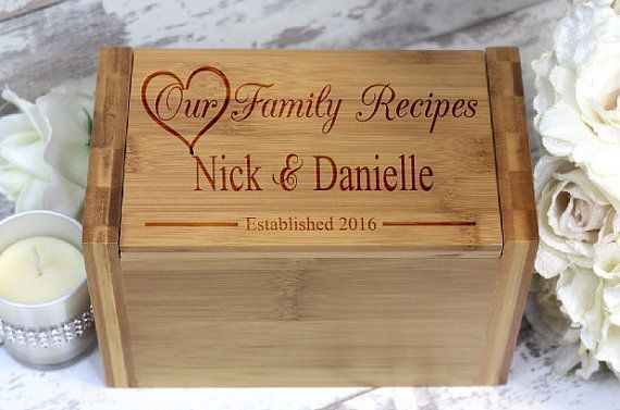 Personalized Engraved Wooden Recipe Box Bamboo by HudsonLace