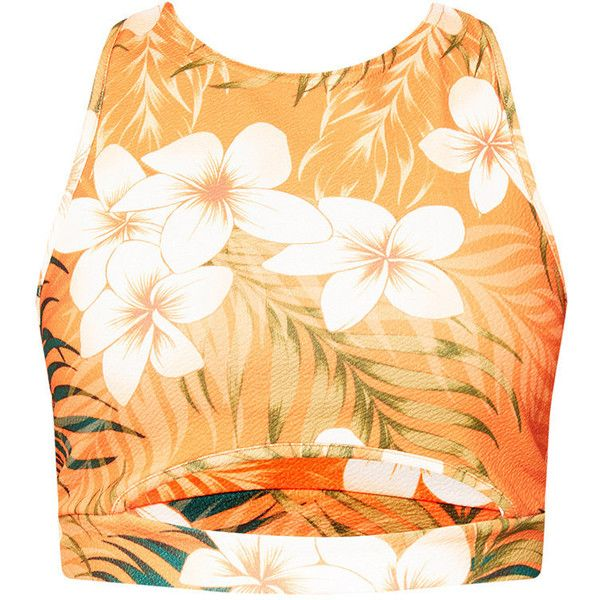 Orange Tropical Print Racer Back Crop Top ($21) ❤ liked on Polyvore featuring tops, orange top, racerback top, racerback crop top, cropped tops and beige crop top
