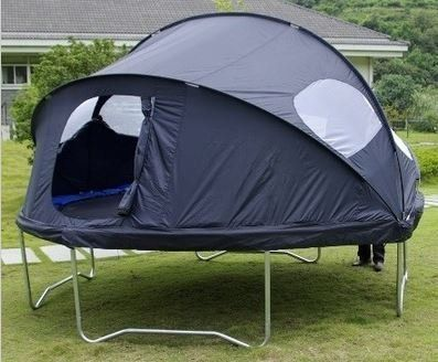 We're getting our kids a trampoline for Christmas and THIS is the PERFECT addition. How fun would it be to have campouts on the trampoline with this trampoline tent. {aff}