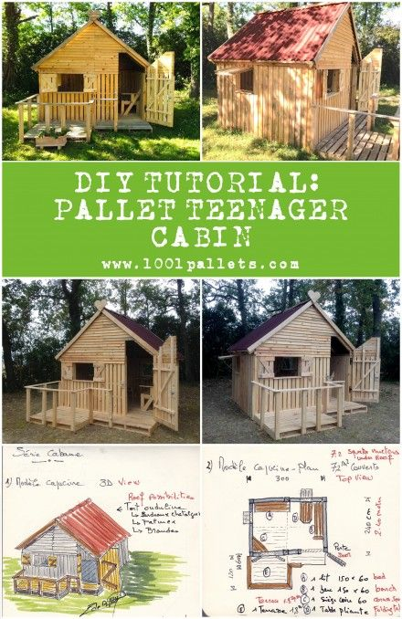 Free Plans / DIY Tutorial to download : Pallet Teenager Cabin made out of 19 pallets