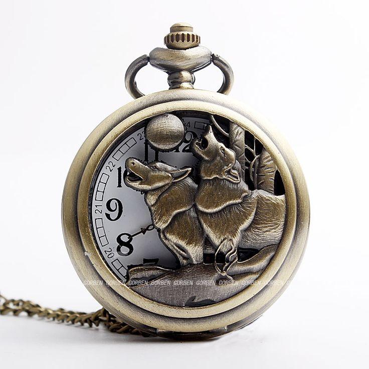 Retro Bronze Wolf and Moon Design Vintage Pocket Watch Necklace Chain Pendant Mens Quartz Watches Relogio Gift Relogio De Bolso